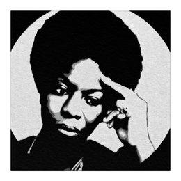"Холст 30x30 ""Nina Simone"" - музыка, любовь, певица, черно-белый, jazz, джаз, фан, монохром, соул, nina simone"