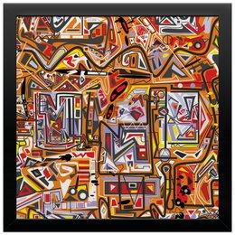 """Холст 30x30 """"Оранжевый дом."""" - арт, узор, абстракция, фигуры, текстура"""