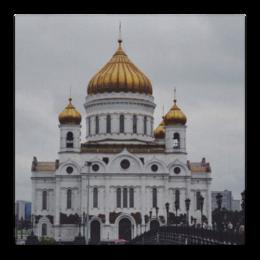 """Холст 30x30 """"Храм Христа Спасителя. Москва"""" - красиво, москва, религия, архитектура, храм"""