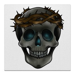 "Холст 30x30 ""skull in a crown of thorns"" - череп, черепа, рок, дизайн, тату"