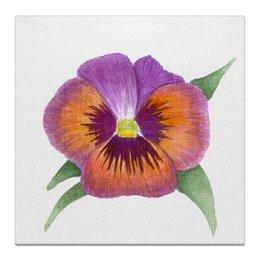 """Холст 30x30 """"Виола"""" - анютины глазки, картина с цветами, виолы, сиреневые цветы, акварельные цветы"""