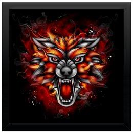 """Холст 30x30 """"Wolf & Fire"""" - огонь, волк, fire, дым, wolf"""