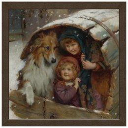 """Холст 30x30 """"Дети и собака, зима"""" - собака, живопись, день матери, 2018, артур элсли"""
