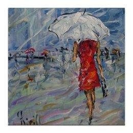 """Холст 30x30 """"Девушка в красном"""" - для дома, для интерьера, красивая живопись, на новоселье, в гостиную"""