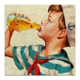 """Холст 30x30 """"Lovely retro"""" - арт, ретро, якорь, мальчик, дом, винтаж, retro, ребенок, sailor, моряк"""