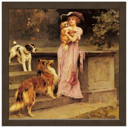 """Холст 30x30 """"Девушка с собаками"""" - девушка, новый год, картина, собака, артур вардль"""