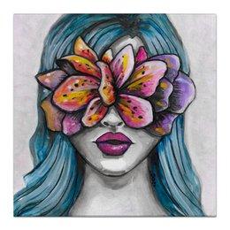 """Холст 30x30 """"Весна"""" - праздник, девушка, цветы, 8 марта, весна"""