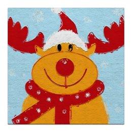 """Холст 30x30 """"С Новым Годом! """" - happy new year, смешные, новый год, зима, олень, deer"""