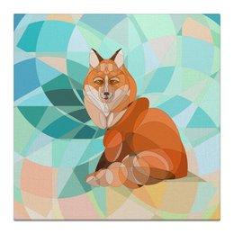 """Холст 30x30 """"Лисонька"""" - животные, оранжевый, лиса, бирюзовый, картина детям"""