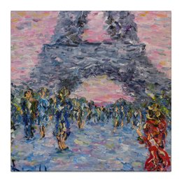 "Холст 30x30 ""Эйфелева Башня"" - девушка, романтика, красота, пара, париж, эйфелева башня, прохожие, paris, eiffel tower"
