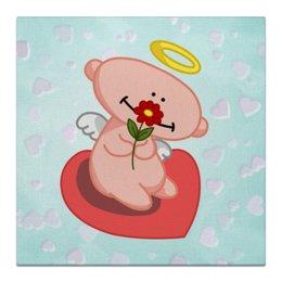 """Холст 30x30 """"Влюбленный ангелок с сердцем"""" - сердце, любовь, цветок, ангел"""