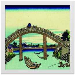 """Холст 30x30 """"Мостик."""" - небо, горизонт, река, рыбак, гравюра, лодки, холст, переправа"""