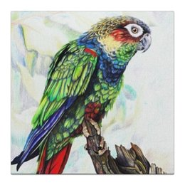"Холст 30x30 ""Попугай"" - птица, попугай, bird, parrot"