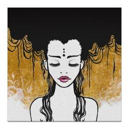 """Холст 30x30 """"Golden (vol.2)"""" - любовь, девушка, рисунок, золотой, релакс"""