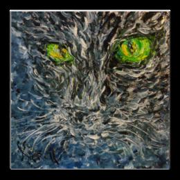 """Холст 30x30 """"Черный кот"""" - кошка, глаза, cat, green, котэ, eyes"""