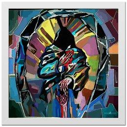 """Холст 30x30 """"Донор"""" - фигура, &в черном капюшоне отдает сердце&, &цветовые пятна&"""