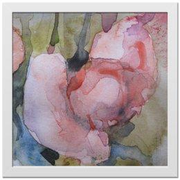 """Холст 30x30 """"Ранункулюсы. Бутоны"""" - цветок, розовый, оригинальный, нежный, картина акварелью"""
