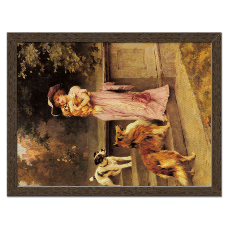 Холст 30x40 Printio Девушка с собаками репродукция ржавый рассвет 500х700мм холст