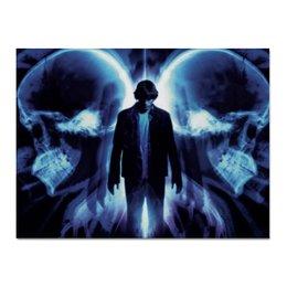 "Холст 30x40 ""Эффект бабочки"" - череп, кино, фантастика, будущее, эштон катчер"