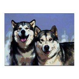 """Холст 30x40 """"Братья маламуты"""" - животные, собака, маламут"""