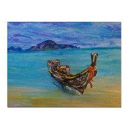 """Холст 30x40 """"Тайланд"""" - остров, лодка, океан, ocean, blue, boat, beach"""