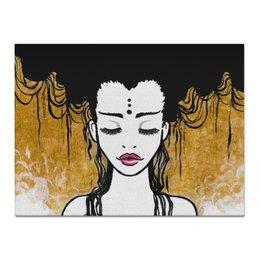"""Холст 30x40 """"Golden (vol.2)"""" - любовь, девушка, рисунок, золотой, релакс"""