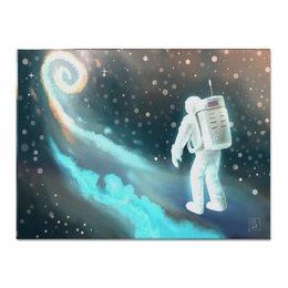 """Холст 30x40 """"Космический путешественник"""" - звезды, рисунок, космос, космонавт"""