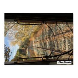 """Холст 30x40 """"Старая железная дорога"""" - ретро, поезд, осень, сша, путешествие"""