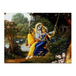 "Холст 30x40 ""Кришна и Радха"" - радха кришна, кришна и радха, радха, яшода и кришна, radha krishna"