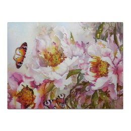 "Холст 30x40 ""Пионы и бабочки 2"" - бабочки, цветы, весна, акварель, пионы"