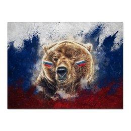 "Холст 30x40 ""Русский Медведь"" - футбол, медведь, россия, флаг, триколор"