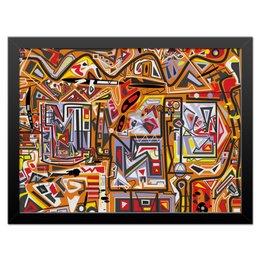 """Холст 30x40 """"Оранжевый дом."""" - арт, узор, абстракция, фигуры, текстура"""