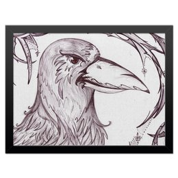 """Холст 30x40 """"Ворон"""" - птица, ворон, crow, чёрный ворон"""