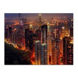 """Холст 30x40 """"Прекрасная Азия"""" - ночной город, китай, мегаполис, гонконг"""