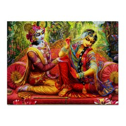 """Холст 30x40 """"Радха и Кришна"""" - кришна и радха, радха кришна, кришна, радха, радхарани"""