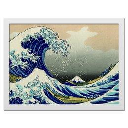 """Холст 30x40 """"Высокая волна,"""" - волны, гравюра, корабли, холст"""