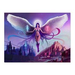 """Холст 30x40 """"Ангел прошлого и будущего"""" - крылья, ангел, руны, будущее"""