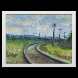 """Холст 30x40 """"заброшеная железная дорога """" - дорога, день, краски, пейзаж, рельсы"""
