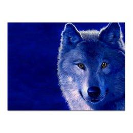 """Холст 30x40 """"Синий Волк"""" - арт, зима, синий, природа, волк"""