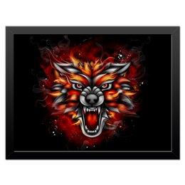 """Холст 30x40 """"Wolf & Fire"""" - огонь, волк, fire, дым, wolf"""