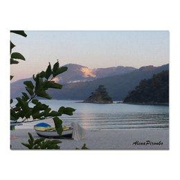 """Холст 30x40 """"Полный штиль"""" - море, закат, путешествие, острова, греция"""