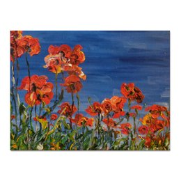 "Холст 30x40 ""Маковый рассвет"" - лето, red, красота, flowers, рассвет, маки, poppy, поляна"