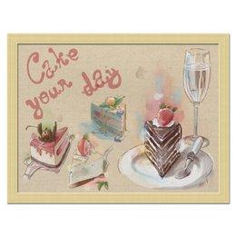 """Холст 30x40 """"Cake your day"""" - сладости, физалис, черника, вишня, черешня"""
