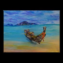 """Холст 30x40 """"Тайланд"""" - остров, blue, лодка, океан, ocean, beach, boat"""