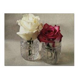 """Холст 30x40 """"Хрусталь и розы"""" - цветы, розы, натюрморт, хрусталь"""