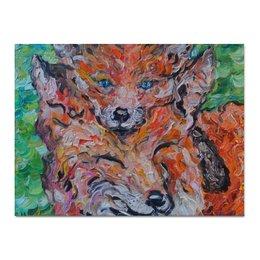 """Холст 30x40 """"Лисы """" - fox, лисы, лисички, рыжие, на голове"""