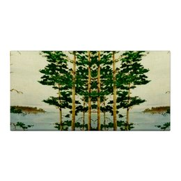 """Холст 30x60 """"На Днепре"""" - природа, сосны, река"""