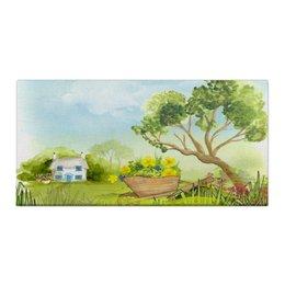 "Холст 30x60 ""На даче"" - голубой, дом, зеленый, зелень, трава"