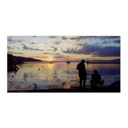 """Холст 30x60 """"Закат в гавани"""" - море, закат, яхта, рыбаки, гавань"""