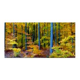"""Холст 30x60 """"Осенний лес"""" - серый, деревья, желтый, акварель, листопад"""